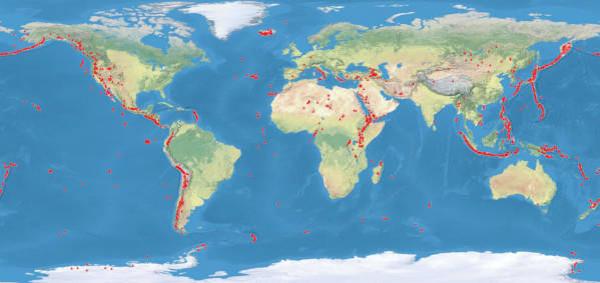Na imagem acima, podemos ver a distribuição de vulcões (representados pelos pontos vermelhos).