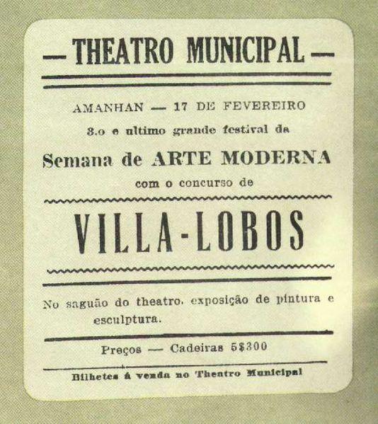 Anúncio da última apresentação da Semana de Arte Moderna de 1922, comandada pelos espetáculos musicais de Heitor Villa-Lobos.