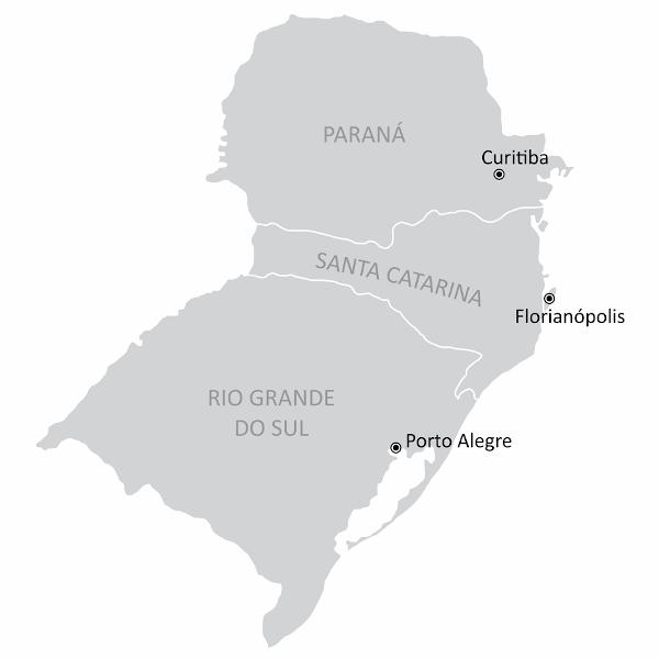 Mapa da região Sul.