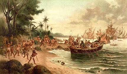 Desembarque de Cabral em Porto Seguro retratado por Oscar Pereira da Silva, 1904.