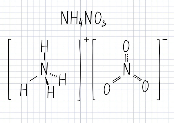 Fórmula molecular e estrutural no nitrato de amônio