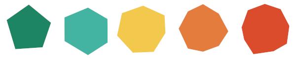 Os polígonos são figuras planas fechadas por poligonais.
