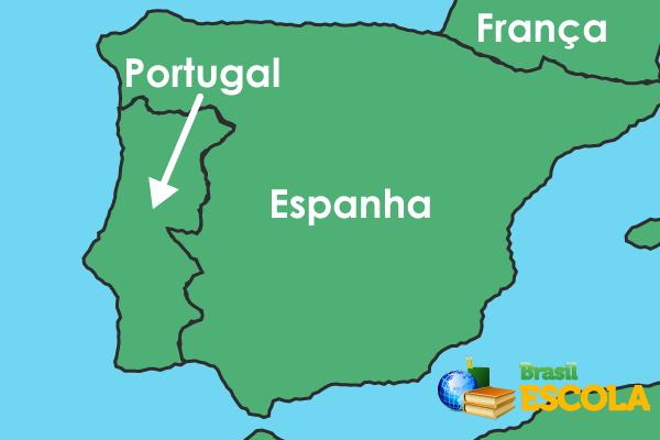 Representação da Península Ibérica, onde se localizavam os reinos de Portugal e Espanha. Os dois reinos foram unificados sob a liderança da coroa espanhola.
