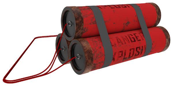 Bananas de dinamite são utilizadas para detonações.
