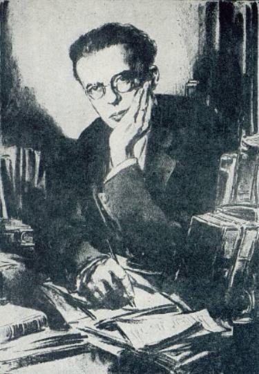 Aldous Huxley (1929), desenho de Eric Pape (1870-1938).
