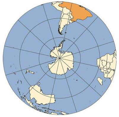 Projeção Azimutal é a mesma utilizada na composição do símbolo da Organização das Nações Unidas. Fonte: IBGE.
