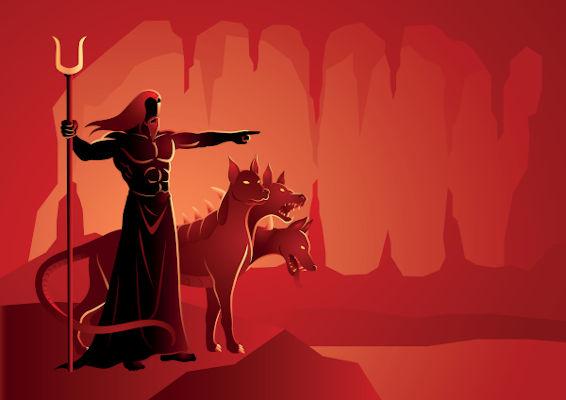 Hades era o deus do submundo, para onde iam os mortos, com Cérbero, o cão de três cabeças,  sendo seu guardião.
