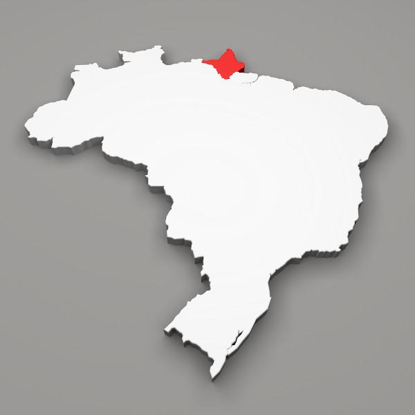Localização do estado do Amapá.