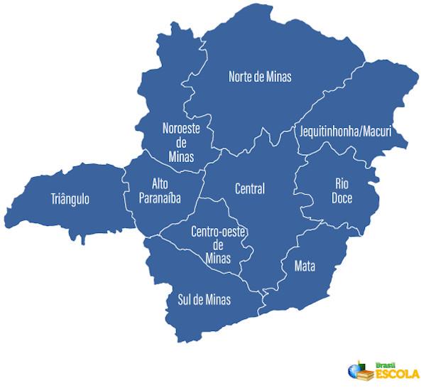Mapa de Minas Gerais com a divisão regional.