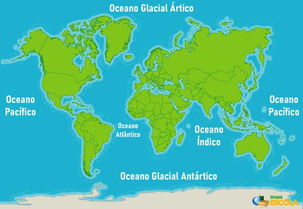 Distribuição dos oceanos no mundo.