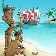 Índios vendo as caravelas