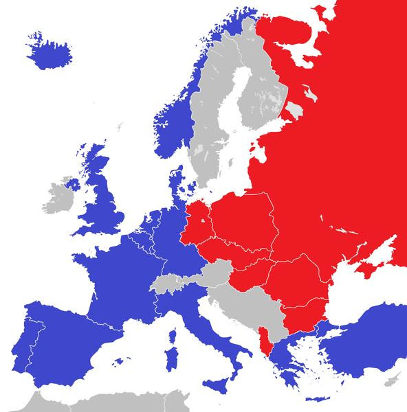 No mapa acima, os países em vermelho são aqueles que fizeram parte do Pacto de Varsóvia, enquanto os de azul são os países integrantes da Otan.