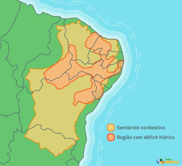 Mapa de localização do semiárido nordestino e da região com déficit hídrico.