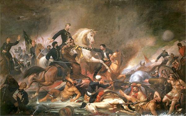 """Em 1871, Pedro Américo pintou a """"Batalha de Campo Grande"""", obra que reforçou seu nome nacionalmente.[1]"""