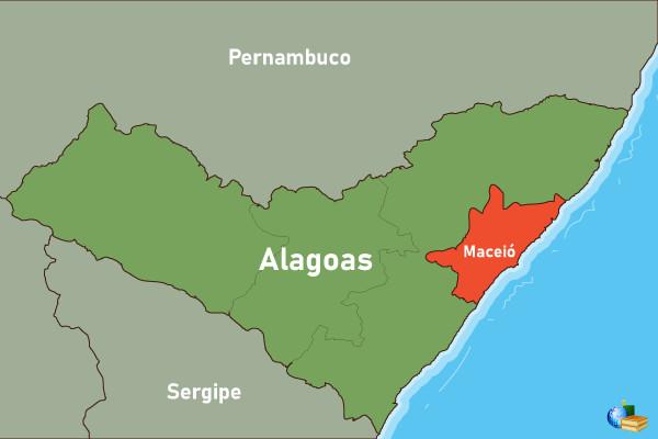 Mapa de Alagoas com localização de Maceió.