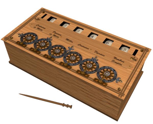 Ilustração de uma pascalina, a máquina de calcular de Pascal.