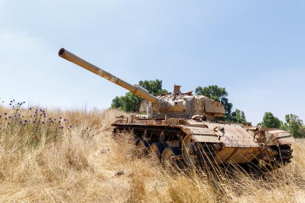 Tanques israelenses utilizados na Guerra do Yom Kippur, em 1973, nos combates contra os árabes, na região do Suez.