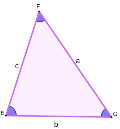 Exemplo de triângulo com lados a, b e c para apresentar a condição de existência.