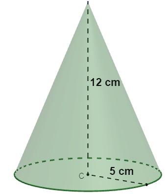 Cone com altura de 12 cm e raio de 5 cm.