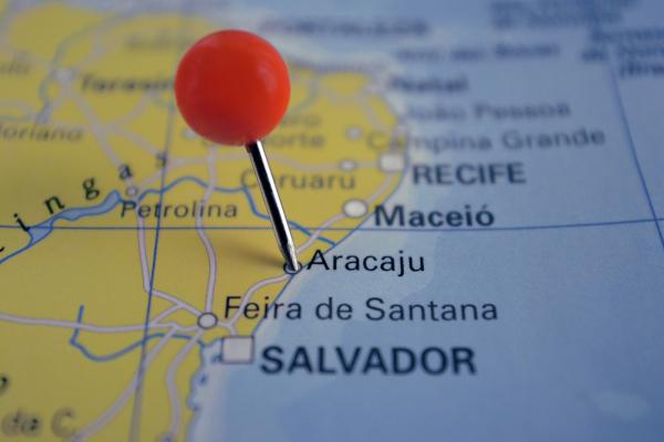 Mapa do litoral nordestino brasileiro com destaque para Aracaju.