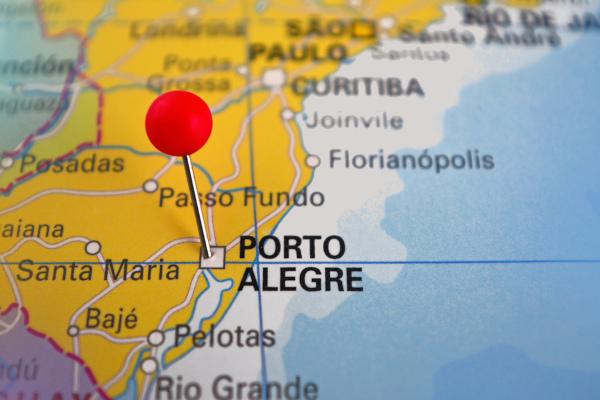 Localização de Porto Alegre no estado do Rio Grande do Sul.