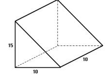 Prisma triangular com arestas medindo 10 cm e altura medindo 15 cm.