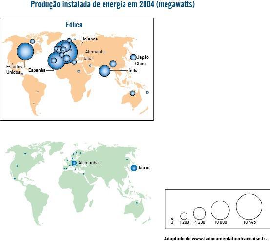 Gráficos com distribuição espacial da produção de energia eólica pelo mundo
