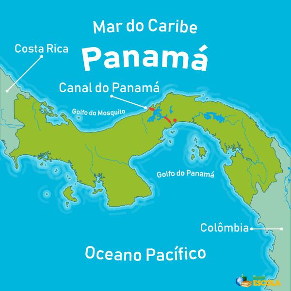 Mapa com localização do Canal do Panamá