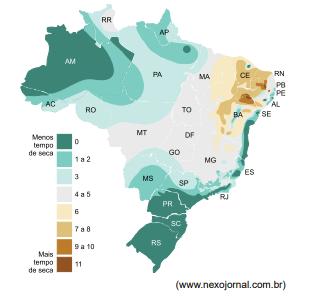 Mapa do Brasil com delimitação das áreas com mais e menos tempo de seca