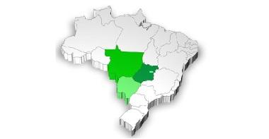 Mapa de localização da região Centro-Oeste
