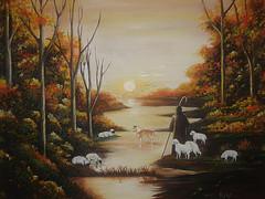 Quadro representando um pastor de ovelhas – ilustração típica do Arcadismo
