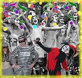 Bloco de carnaval, presidiários, Pierrô e Colombina