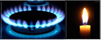 Chama azul do gás de cozinha e chama amarela da vela