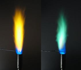 As chamas adquirem colorações amarela e verde durante a vaporização de íons sódio e cobre, respectivamente.