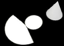 Cone na parte superior direita; e, abaixo, a planificação do cone