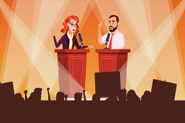 A retórica é utilizada no meio político para vencer debates e convencer eleitores.