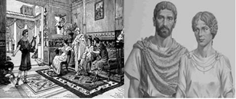 Apresentação artística para os moradores de uma típica residência romana - Casal da elite romana