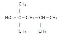 Fórmula estrutural simplificada de um hidrocarboneto presente na gasolina