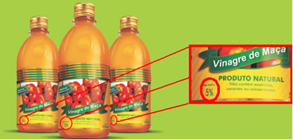O vinagre é uma solução aquosa com 5% em massa de ácido acético