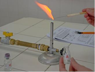 Teste de chamas segundo o primeiro exemplo.
