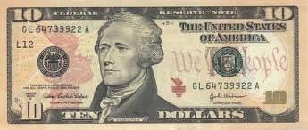 Nota americana de dez dólares