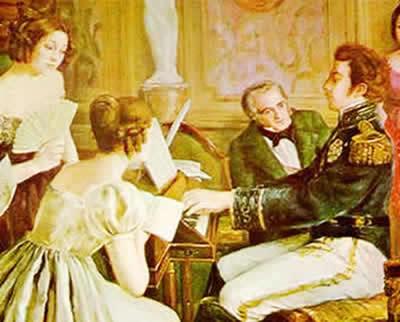Pintura em que D. Pedro I realiza a execução da peça musical dedicada ao Hino da Independência