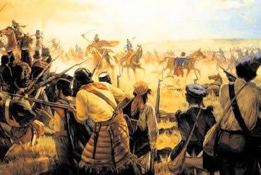 Representação dos conflitos entre os farrapos e as tropas imperiais.