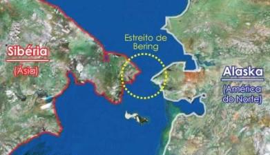De acordo com a teoria de Bering, o homem teria chegado à América através do estreito de Bering, durante a última era glacial