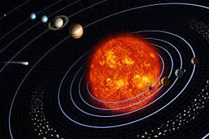 A gravitação mantém os planetas em órbita ao redor do Sol.
