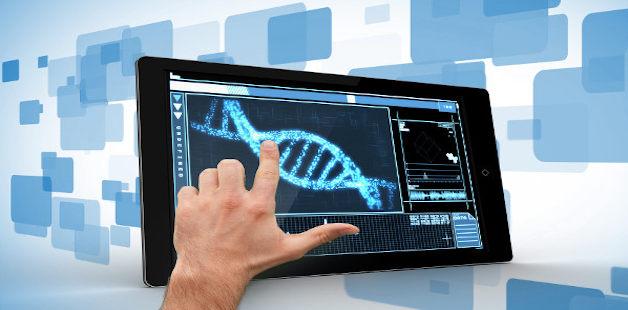 Animação de DNA no tablet