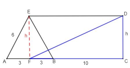 Quadrilátero cortado por diferentes segmentos com um triângulo em destaque e a altura de outro triângulo em destaque.