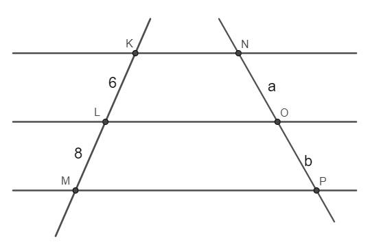 Questão com feixe de três retas paralelas cortadas por duas transversais