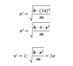 Cálculo da nova velocidade v' do cubo aumentando duas vezes a deformação