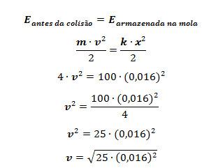 Cálculo da velocidade do objeto antes de se chocar com a mola
